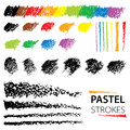 Vector set with oil pastel design elements isolated on white background. Black and color abstract textured strokes, stripes. Royalty Free Stock Photo