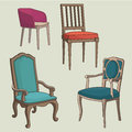 Vector Set of old Armchairs.