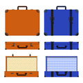 Vector set of old suitcases. Brown and blue retro suitcase. Royalty Free Stock Photo