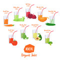 Vector set of organic vegetable juices Royalty Free Stock Photo