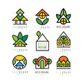 Vector set of original logos with eco friendly houses. Ecological construction. Linear emblems for or architectural