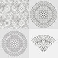 Vector set ornamental round background seamless lace pattern illustration Stock Photography