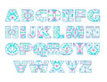 Vector set of ornate capital letters with abstract ethnic patterns. Royalty Free Stock Photo