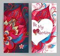 Floral cards, Valentine`s Day greetings.