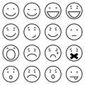 Vector Set of 16 Outline Emoticons