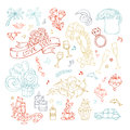 Vector set of outlined Valentine`s icons, signs and symbols.