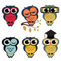 Vector set of owls cartoon illustration Royalty Free Stock Images