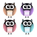 Vector set of owls different Stock Photos