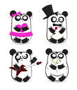 Vector set pandas different outfits Stock Image