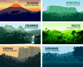 Vector set of panorams countries South America