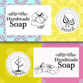 Vector set of patterns, labels and logo design templates for hand made soap packaging and wrapping paper