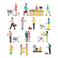 Vector set of people buying food in grocery store. Icons, design elements  on white background. Supermarket with Royalty Free Stock Photo