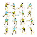Vector set of people playing tennis, ping-pong and badminton. Royalty Free Stock Photo