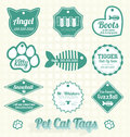 Vector set pet cat name tags collection of retro style can and labels Royalty Free Stock Photo