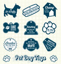 Vector set pet dog name tag labels collection of retro style tags and Stock Photo