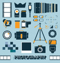 Vector set photography and camera objects collection of icons Royalty Free Stock Photography
