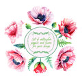 Vector set of pink poppies, buds, leaves for design. Royalty Free Stock Photo
