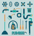 Vector set plumbing icons and symbols collection of retro schemed Stock Images