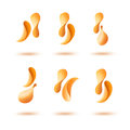 Vector Set of Potato Crispy Falling Chips Isolated on White Background