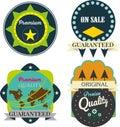 Vector set premium quality and guarantee labels retro