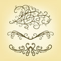 Vector set of pretty border or underline design elements or paragraph text dividers
