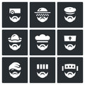 Vector Set of Profession People Icons. Doctor, Beekeeper, Hunter, Attendant, Cook, Priest, Homeless, Prisoner, Patient.