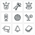Vector Set of Prom Icons. King, Firework, Queen, Equipment, Disco, Alcohol, Master, Last Call, Scenario. Royalty Free Stock Photo