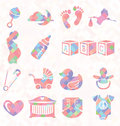 Vector set quilt pattern baby icons collection of in Royalty Free Stock Images