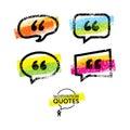 Vector Set of Quote Bubbles Templates. Bright Brush Rough Design Concept
