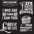 Vector set of quote typographical background about fast food.