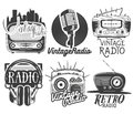Vector set of radio and music labels in vintage style isolated on white background. Royalty Free Stock Photo