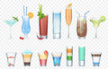 Vector Set of realistic alcoholic cocktails isolated on the alpha transperant background. Club party summer cocktails in