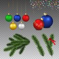 Vector set of realistic christmas decorations and coniferous bra