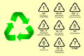 Vector set of recycling codes simple Stock Photos