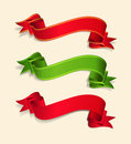 Vector set of red and green festive ribbons Royalty Free Stock Photo