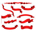 Vector Set Of Red Ribbons. Royalty Free Stock Photo