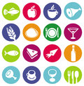 Vector set or restaurant icons and food Royalty Free Stock Image