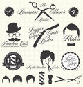 Vector set retro barber shop labels collection of vintage style and stickers Stock Photo