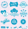 Vector set retro candy shop labels and icons collection of vintage style Royalty Free Stock Photography