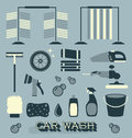 Vector Set: Retro Car Wash Icons and Silhouettes