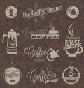 Vector set retro coffee shop labels and symbols collection of style house icons Royalty Free Stock Image