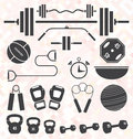 Vector set retro color flat gym and workout equip collection of equipment icons symbols Stock Photography