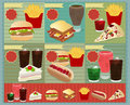 Vector Set of Retro fast food menu Stock Image