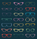 Vector set retro glasses silhouettes in color collection of vintage style Stock Image