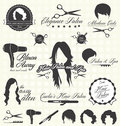 Vector set retro hair salon labels and icons collection of style Royalty Free Stock Photo