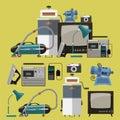 Vector set of retro home appliances icons.