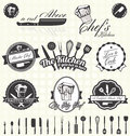 Vector set retro master chef labels and icons collection of vintage style Stock Image