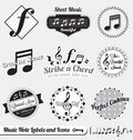 Vector Set: Retro Music Note Labels and Stickers Royalty Free Stock Image
