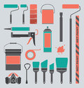 Vector set retro painting supplies silhouettes an collection of various and icons Royalty Free Stock Image