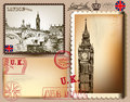 Vector set of retro postcards with london for design calligraphic vector Stock Image